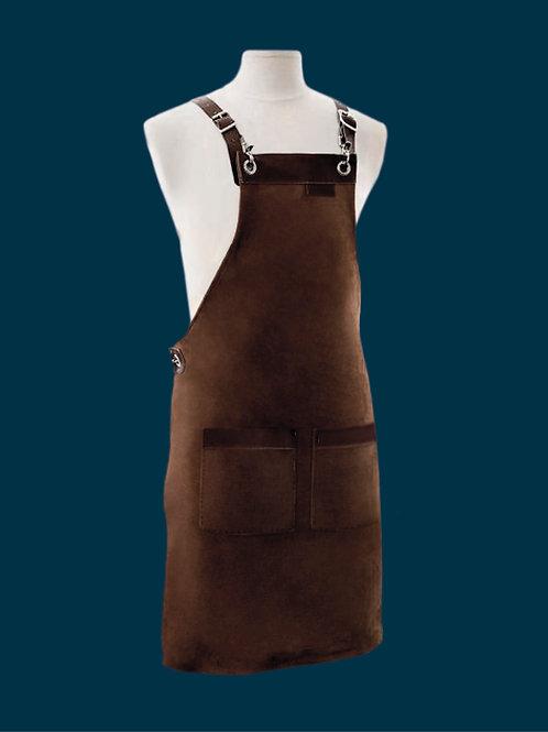 FULL LENGTH APRON dark brown suede