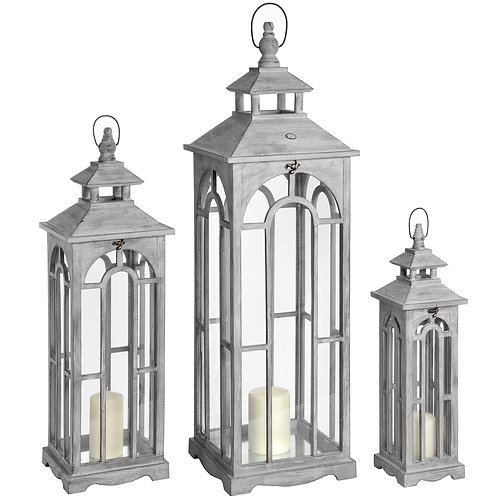 Three Wooden Lanterns With Archway Design