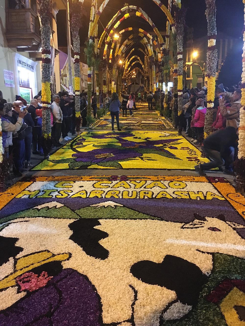 Alfombras de Flores for Semana Santa in Tarma