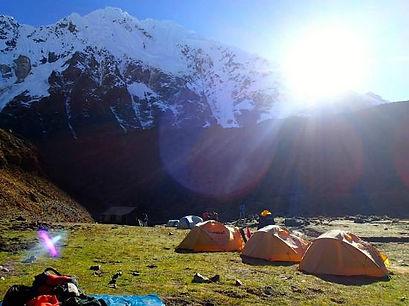 Salkantay Trek camp near the Salkantay Pass