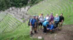Group stop on the Inca Trail above Wiñay Wayna near Machu Picchu