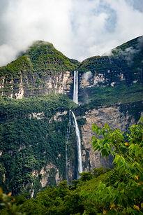 Gocta Falls from afar after Kuelap Tour