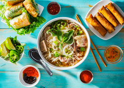 vietnamese beef pho bo soup in bowl on t