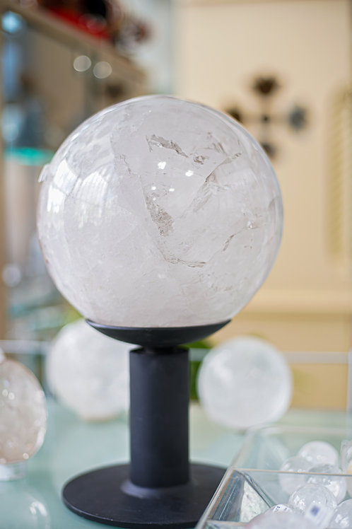 CLEAR QUARTZ  CRYSTAL  SPHERE ON STAND
