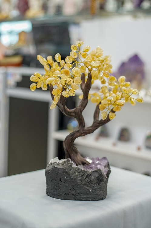 "Handmade  Citrine Gemstone Tree w/ Amethyst Cluster base, 14"" tall, 36 branches"