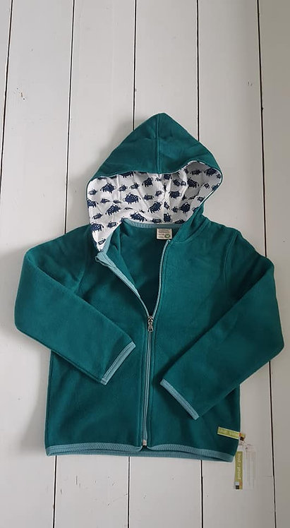 Fleece zip hooded jacket Ivy green
