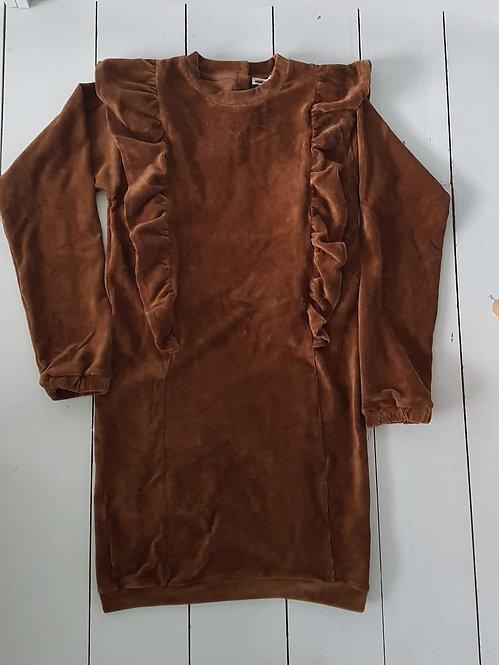 Ruffle velour dress brown