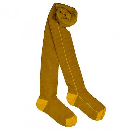 Tights striped mustard yellow