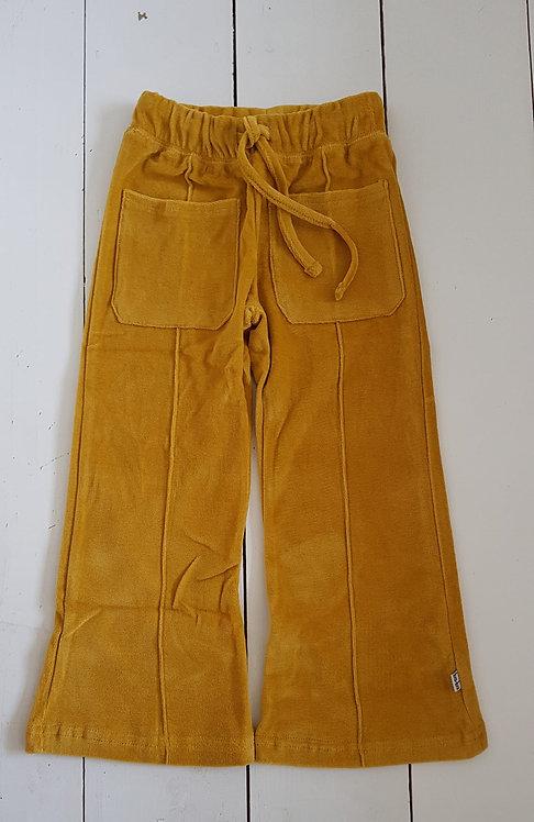 Flare pants velour mustard yellow