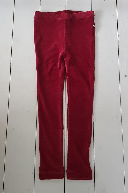 Rib velour red leggings