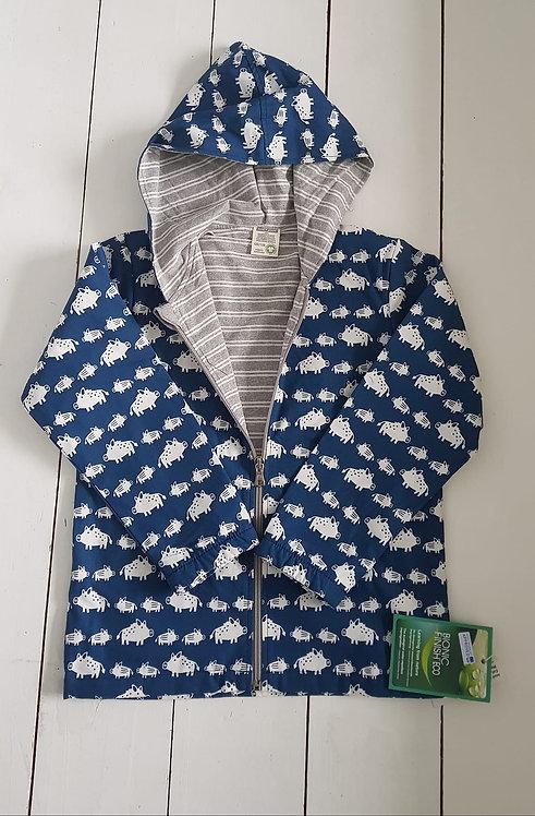Water repelent zip hooded jacket