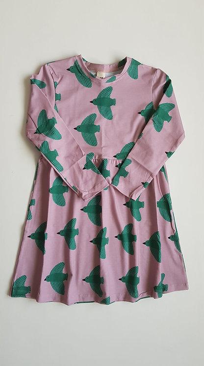 Green birds skirt dress