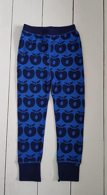 Wool leggings blue apples