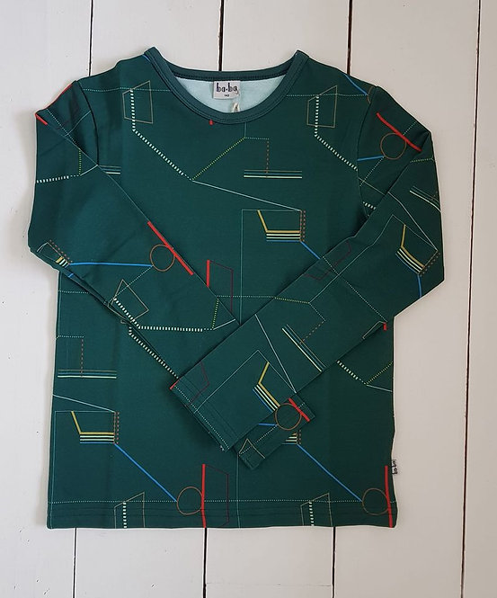 Green geo print top