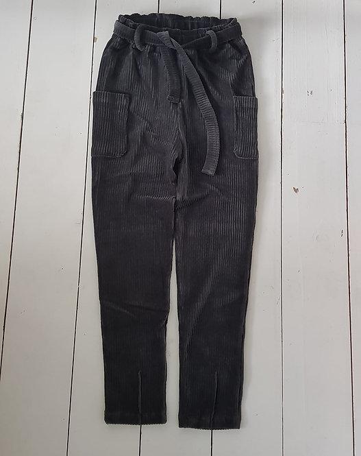 Rib velour black pants