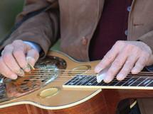 LeRoy sliding some notes on his LeRoy Mack special 206 Beard Guitar (Dobro) type
