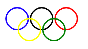 Drawing the Olympic Rings using Python's turtle