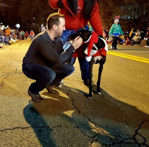 W.Va. Del. Shawn Fluharty visits with his namesake during the Main Street Bank Fantasy of Lights Parade.