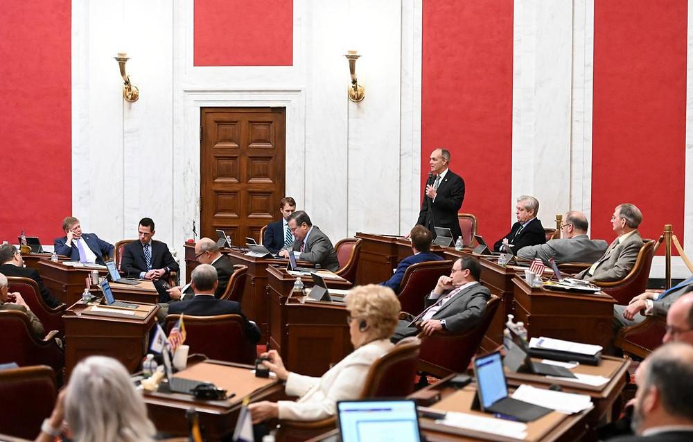 Senate President Mitch Carmichael, R-Jackson, left the president's dais to speak in favor of passing Senate Bill 285 on Wednesday.