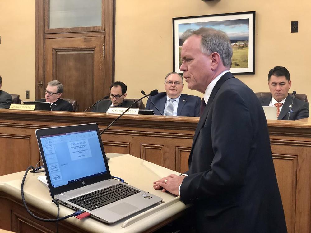 Wheeling City Manager Robert Herron testifies against Senate Bill 285, which would eliminate the Greyhound Breeding Development Fund.