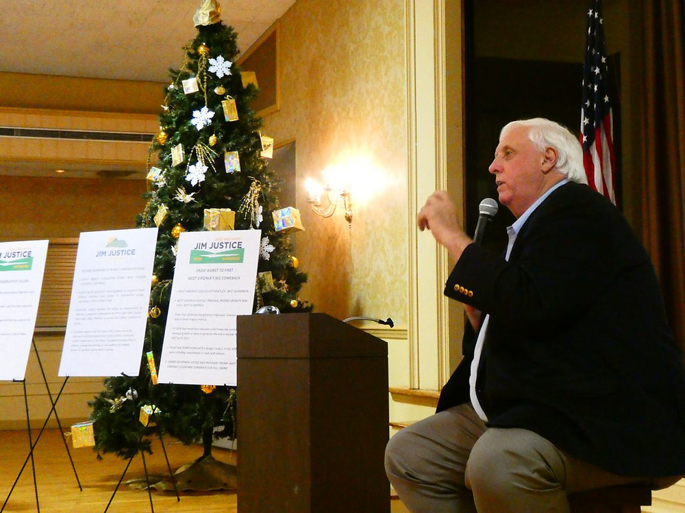 West Virginia Gov. Jim Justice addresses supporters Thursday night at Wheeling Park's White Palace.