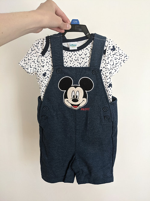 Disney Baby Mickey Overall and Onesie (12M)