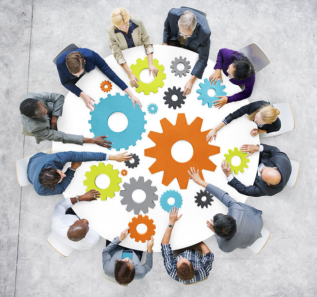 Business People with Gears and Teamwork