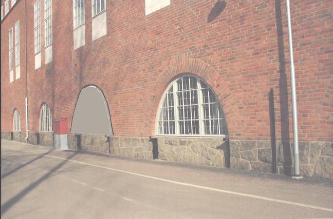 Splitterskydd av betong för fönstren (fotomontage)