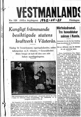 VLT-artikel om kungabsesöket 1932
