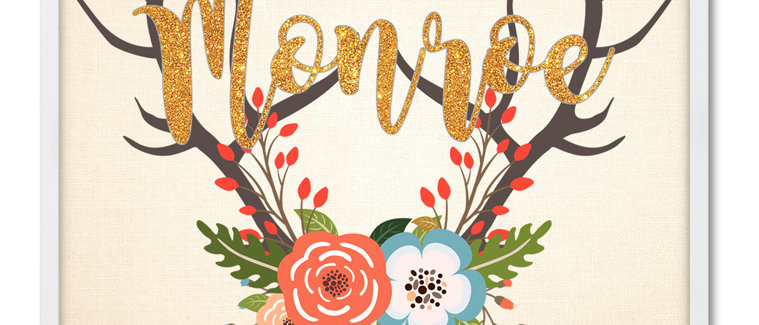 """""""Antler With Flowers"""" Personalized Baby Girl Name Sign. 11"""" x 14"""", Unframed"""
