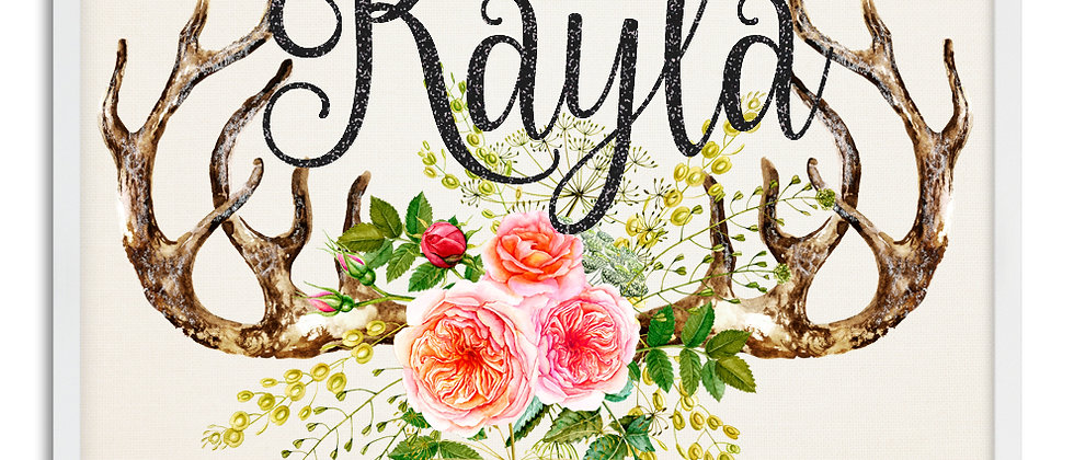 """Antlers and Flowers"" Personalized Baby Girl Name Sign. 11"" x 14"", Unframed"