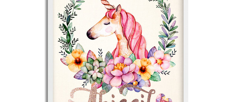 """""""Magical Unicorn"""" Personalized Baby Girl Name Sign. 11"""" x 14"""", Unframed"""