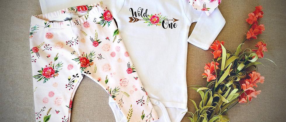 """Wild One"" Infant Bodysuit, Leggings and Headband S"