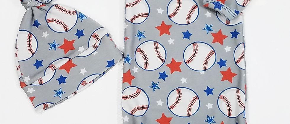 """Baseball Star"" Infant Sleeping Gown"