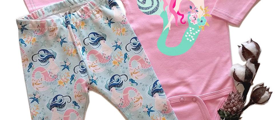 Magical Mermaid Infant Bodysuit, Leggings and Headband S