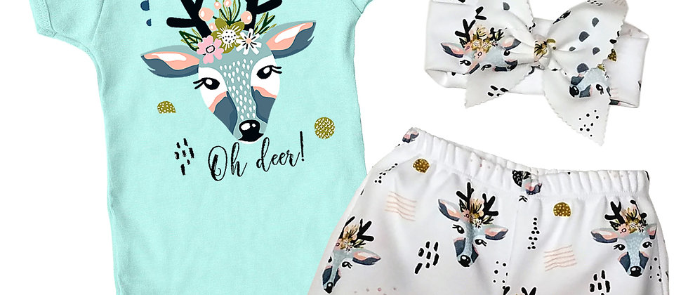 """Oh Deer!"" Infant Bodysuit, Bloomers and Headband Set"