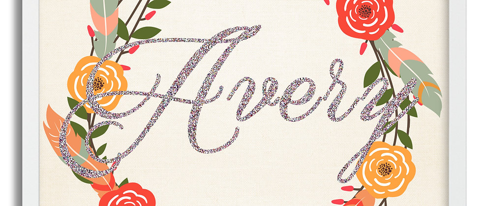 """""""Feathers and Flowers"""" Personalized Baby Girl Name Sign. 12"""" x 12"""", Unframed"""