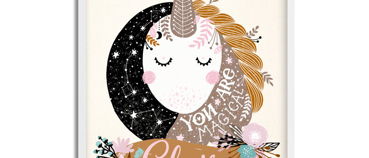 """Magical Unicorn"" Personalized Baby Girl Name Sign. 11"" x 14"", Unframed"
