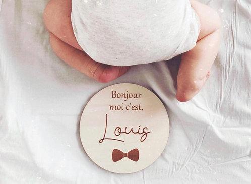 """Pancarte """"Bonjour, moi c'est"""""""
