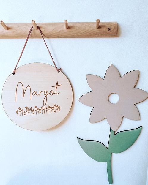 Pancarte ronde champs de fleurs