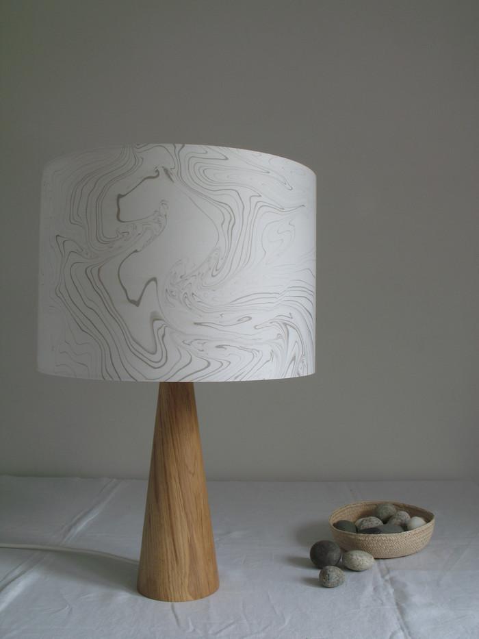 30 cm lampshade hand made with suminagashi.
