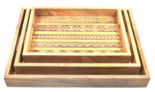 Tray Black, Gold and Wood
