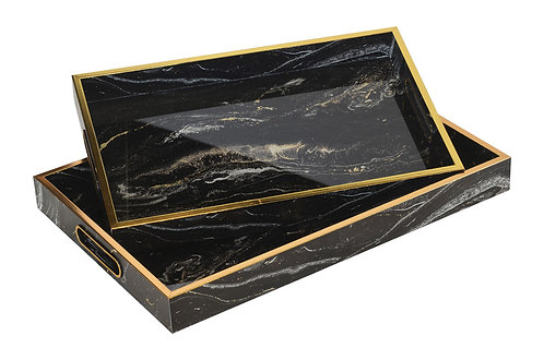 Glass Tray Rectangle Marble Black