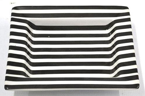 Dish Black and White Stripes