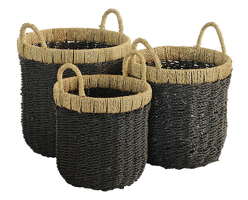 Natural & Black Hemp Basket