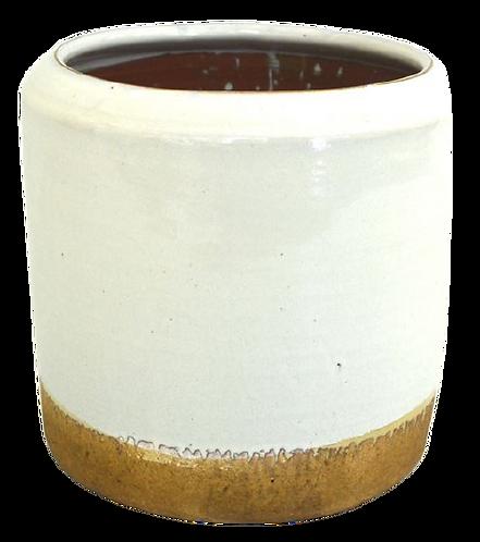 Pot White Glaze Natural Bottom