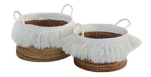 Basket Mendong Tassel Natural White