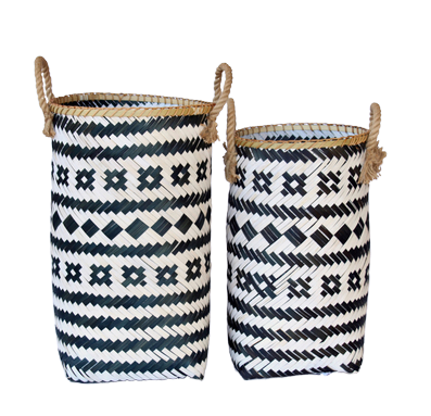Tall Black and White Tribal Basket
