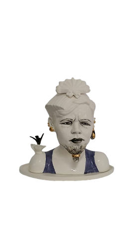 Ceramic Bust with Beard and Gold Earings