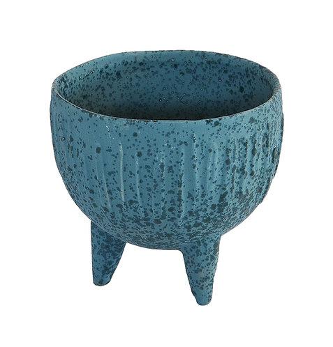 Ceramic 3Legged Pot Small Indigo